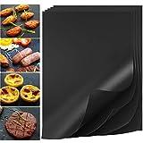 HUISPARK Tappetino per Barbecue, 16×12 Pollici Spessore 0.2mm Tappetini BBQ omologati FDA...