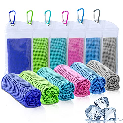 """Amgico 6 Packs Cooling Towel, (40""""x12"""") Microfiber Instant Cooling Towels for Neck, Ice Towels for Sports Gym Fitness Yoga Jogging Running & Outdoor Activities"""