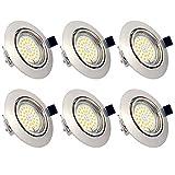 Foco Empotrable LED Techo, Pack de 6 GU10 7W Marco redondo Blanco Cálido 3000K, 600 Lumens, IP44, Foco LED empotrable para salón o dormitorio cocina