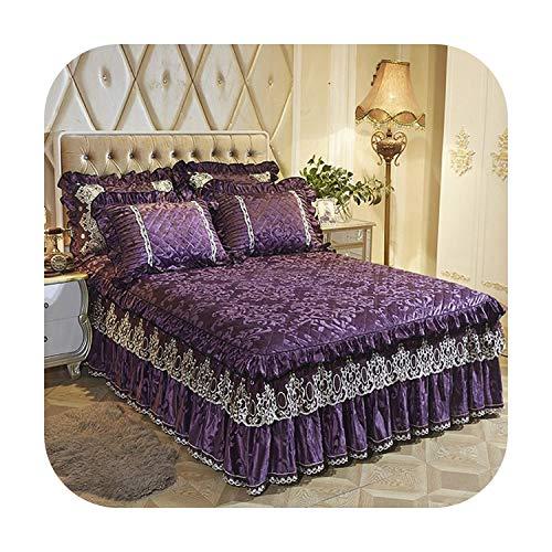 MAC-GIrl Juego de sábanas de forro polar cálido para cama individual, tamaño king, tamaño king, color morado, rosa y rojo, fundas de almohada Couverture De Lit-Purple 1-180 x 200 cm, 5 unidades