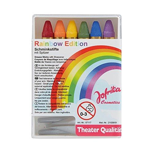 Jofrika 707117 Lot de 6 crayons de maquillage arc-en-ciel avec taille-crayon, licorne, fée arc-en-ciel