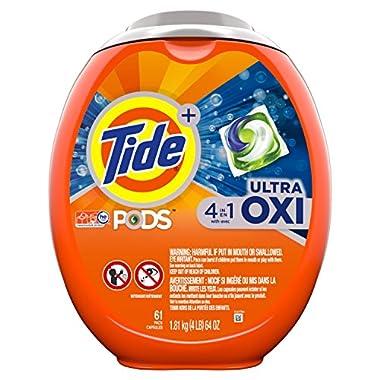 Tide Pods Liquid Detergent Pacs, Ultra Oxi, 61 Count