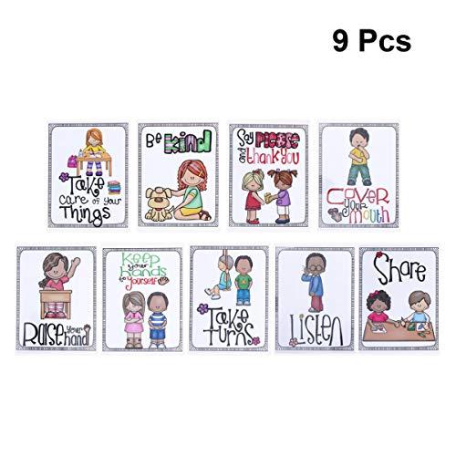 Healifty Klassenregeln Poster Klassenzimmer Verhalten Regeln Bildungs ??Wand Poster Gute Gewohnheiten Sitten Tabelle für Vorschule Grundschule Hängende Dekoration 9 Stücke