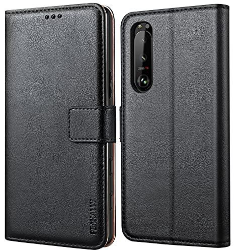 Peakally Handyhülle für Sony Xperia 5 III Hülle, Premium Leder Flip Case Tasche Schutzhülle Brieftasche Klapphülle [Kartenfächer] [Standfunktion] [Magnet] für Sony Xperia 5 III-Schwarz