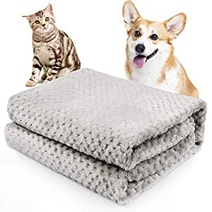 Onarway Fluffy Sherpa Dog Blankets 27.5 x 39.4 inch Soft Washable Pet Throw Blanket Sleep Bed Mat for Dogs Puppy Cats & Other Small Medium Pets Grey