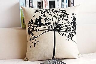 CayCay Cojín algodón Lino casa Nordic Moderno Almohada Minimalista Negro y Blanco Pluma en Forma de corazón Caballo Almohada sofá Almohada Caja de Almohadas 45x45cm 2