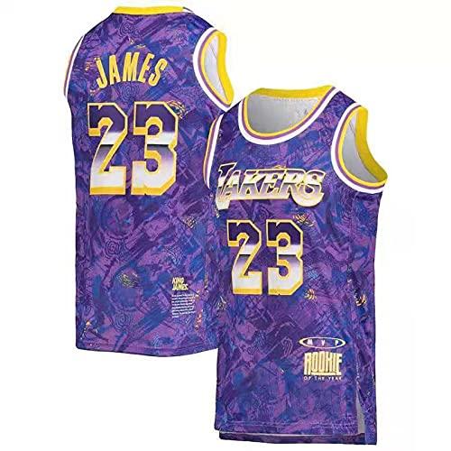 MVP James Los Angeles Lakers Lebron Baloncesto Masculino Cosido Transpirable # 23 Sport Swingman Jersey Ropa, Adecuado para Colecciones de Fans.(Size:XXL,Color:A1)