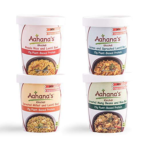 Aahana's Lentil and Rice Bowls - Gluten Free, NON-GMO, Vegan Food with 15g Plant-Based Protein - Ready-to-Eat, Vegetarian Meals, Just add Water - No Refrigeration Required - Variety 4- Pack 2.3 Oz
