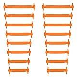 Xunits Elastische Silikon Schnürsenkel neon-orange, flach Schleifenlose Schuhbänder in 13 (neon) für Kinder & Erwachsene