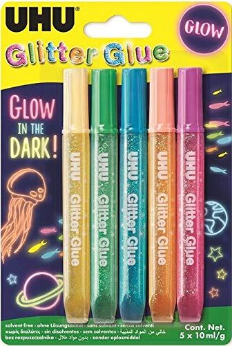 UHU Glitter Glue Glow in the Dark, 10 ml, 5 Stück