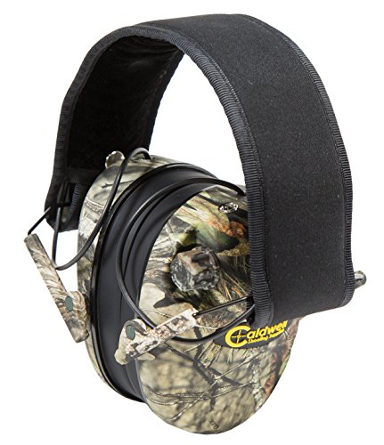Caldwell E-Max Low Profile Electronic 23 NRR Hearing Protection with Sound Amplification and Adjustable Earmuffs for Shooting, Hunting and Range, Mossy Oak