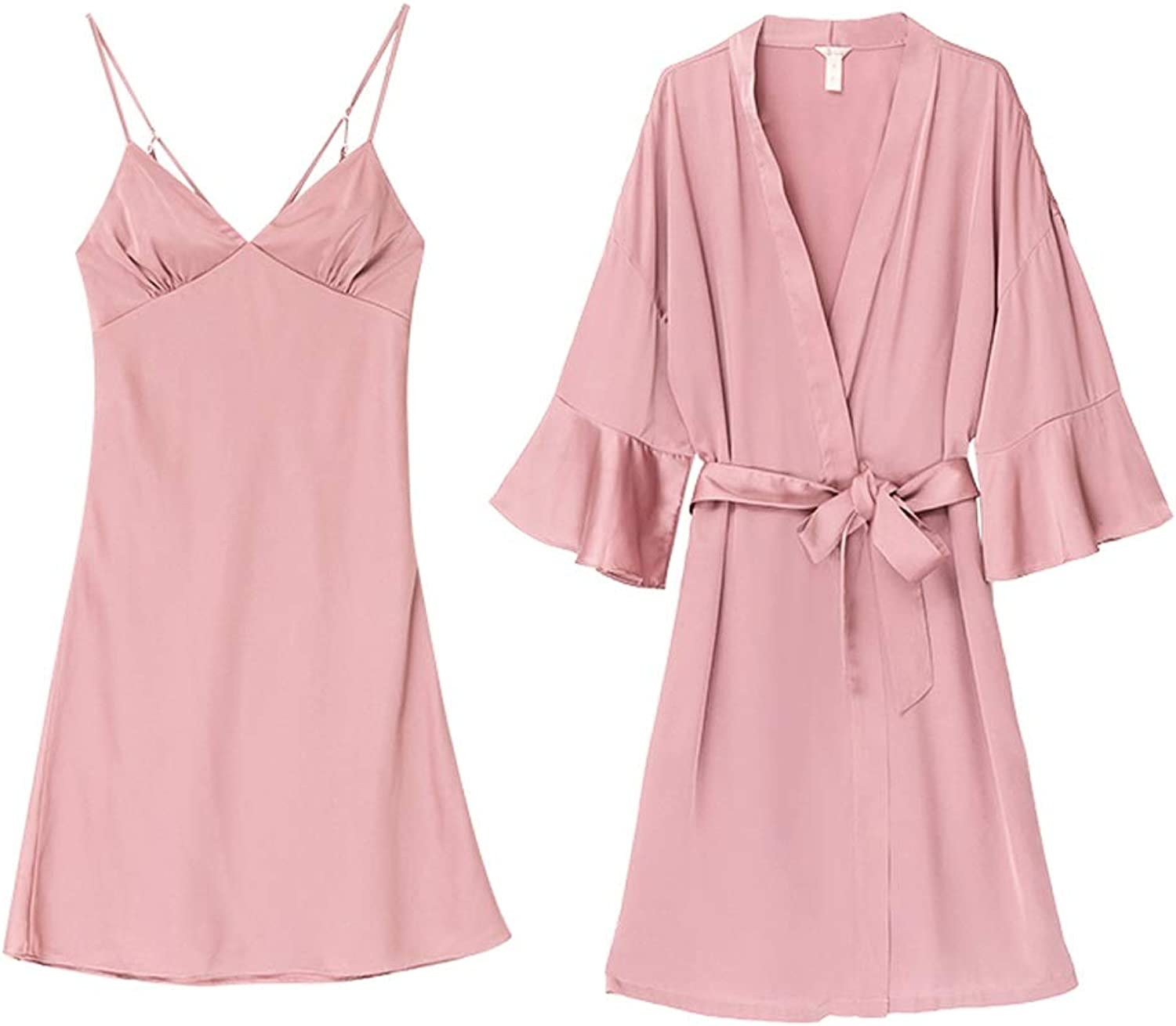 Home Service Women Sexy Silk Nightgown TwoPiece Drop Shoulder Bath Strap Nightdress (color   Pink, Size   S)