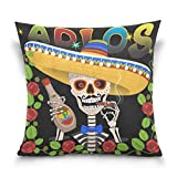Lewiuzr Funda de cojín Hombre Mexicano Sugar Skull Day of The Dead Flower Cuadrada Decorativa Suave de poliésterfundas de cojín for Bedroom and Couch Terrace 45x45 cm