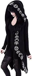 TWGONE Cardigan Jacket Women Plus Size Hooded Coat Long Sleeve Punk Moon Print Black Cloak