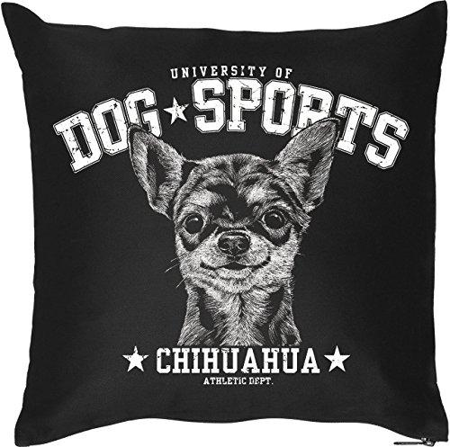Schöner Hunde Kissenbezug in schwarz: DOG SPORTS - Chihuahua, für Hundefans, Hundeschulen und fürs Körbchen