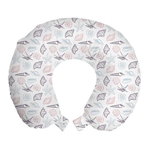 ABAKUHAUS Oceano Cojín de Viaje para Soporte de Cuello, Conchas de mar en Colores en Colores Pastel, de Espuma con Memoria Respirable y Cómoda, 30x30 cm, Rose Cuarzo Azul bebé