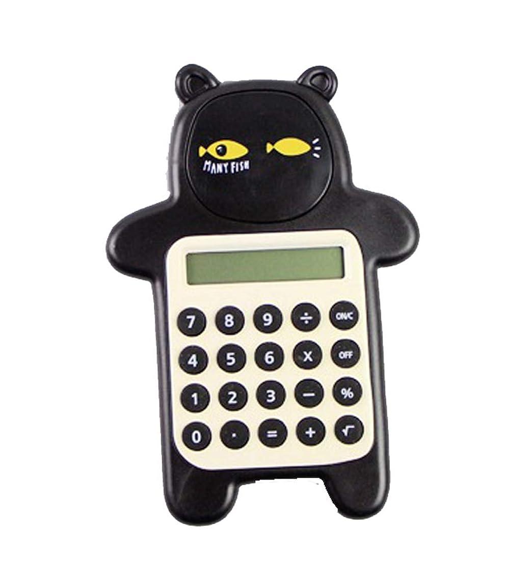 明確なワイヤー徹底かわいいクマの形 クリエイティブミニ計算機 学生用計算機 ブラック A2