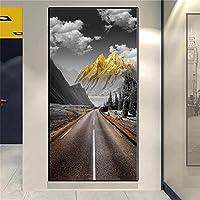 北欧の壁アートゴールデンマウンテンピーク風景キャンバス絵画ポスター壁画リビングルーム家の装飾(60x120cm)ノーフレーム