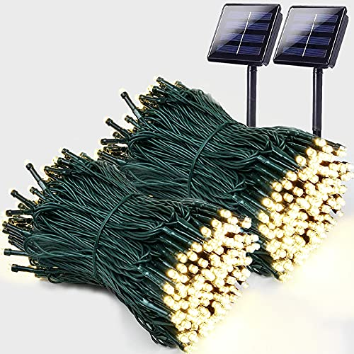 Super-Long 144FT Solar Christmas Lights 2-Pack Each 72FT 200 LED Solar String Lights (Green Wire), Extra-Bright Waterproof Solar Lights Outdoor Christmas Decorations with 8 Lighting Modes (Warm White)