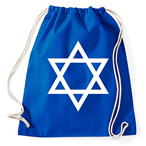 Styletex23 Flag of Israel Davidstern Turnbeutel Sportbeutel, Royalblue