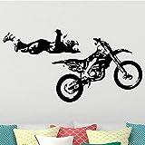 wZUN Stickers muraux Moto Moto Cavalier garçon Chambre décoration Stickers muraux Vinyle Amovible décoration de la Maison 57X30 cm