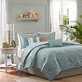 Madison Park Carmel 7 Piece Comforter Set, Queen(90'x90'), Seashell Blue