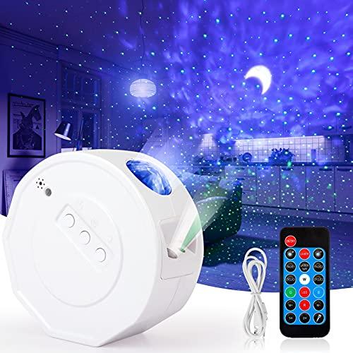 HMGDFUE Proyector Estrellas, Poyector Galaxia con Temporización, control remoto y altavoz de música Bluetooth, Proyector de Estrellas para El ambiente del Dormitorio de Niños Adulto Cumpleaños Fiesta