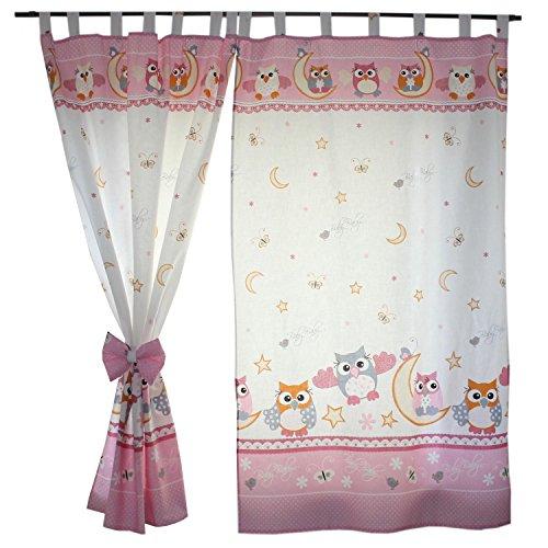 TupTam Kinderzimmer Vorhäng mit Schleifen 2er Set, Farbe: Eulen Rosa, Größe: ca. 155x95 cm