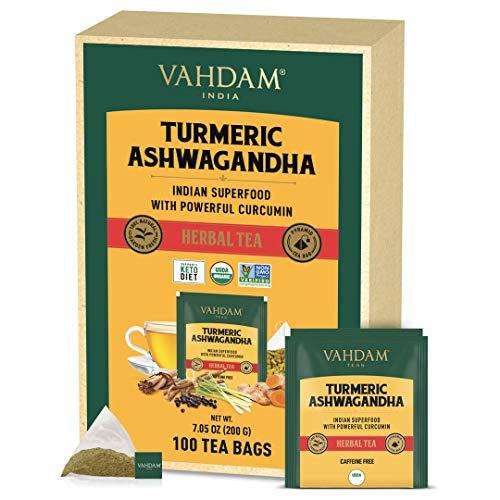 VAHDAM, Tisane Bio SUPER ALIMENTS, Curcuma + Ashwagandha (100 Sachets) | Certifié USDA Mélange Bien-être Ancien d'Inde, Curcuma & Épices Fraîches | Tisane Detox pour Booster l'Immunité