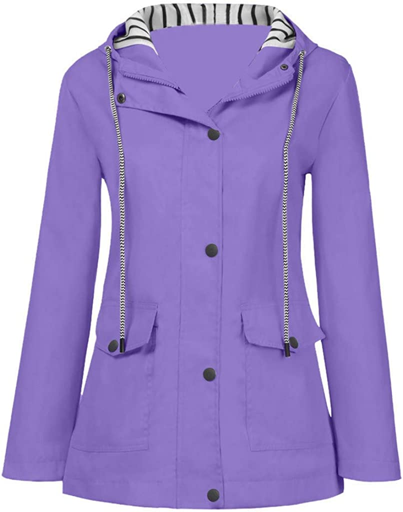 WYBAXZ Women's Solid Color Raincoat Long Sleeve Jacket with Pocket Hooded Windproof Oversized Outerwear for Women