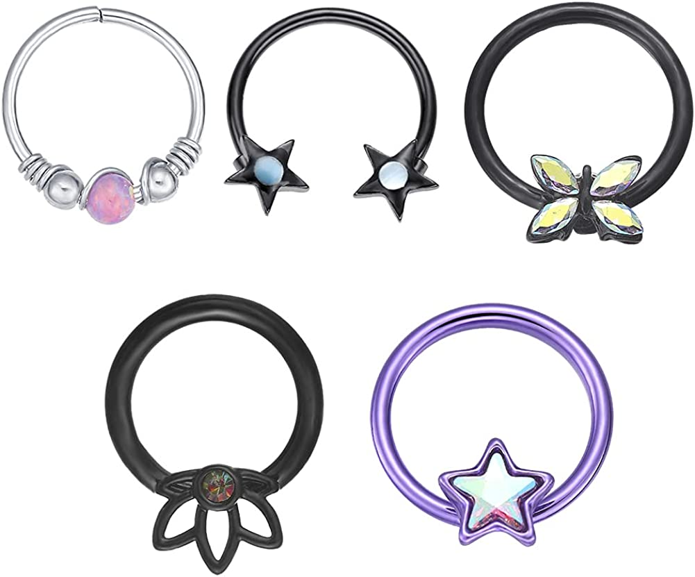 WASOLIE Body Jewelry 16G Stainless Steel Hypoallergenic Nose Studs Women Men Purple/Black/Sliver/Rainbow 5Pcs/6Pcs