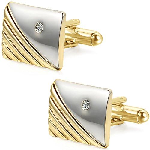 JewelryWe Legierung Manschettenknöpfe Manschetten Knöpfe Strass Gold Silber Streifen Gestreift Hemd Business Hochzeit Wedding Herren