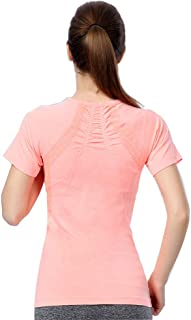 Lanbaosi Women's Yoga Short Sleeve T-Shirt Slim Fit Breathable Running Gym Top