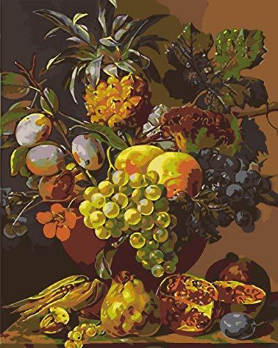 DIY Verf voor Beginner Fruit Op De Tafel DIY Olie Verf door Aantal Kits,Home Decor Muur Geschenk Geschilderd voor Schilderen Beginner 16 X 20Inch.40 * 50Cm