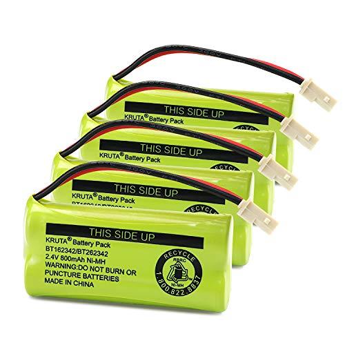 Kruta BT166342 BT266342 Battery 2.4V 800mah Replacement Battery Pack Compatible with for BT183342 BT283342 BT162342 BT262342 VTech CS6114 CS6419 CS6719 at&T EL52300 CL80111 Cordless Phone (Pack 4)