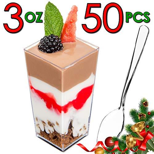 DLux Mini Dessert Cups, Appetizer Bowls & Spoons with Recipe e-Book [Clear Plastic, 3 oz, Square...