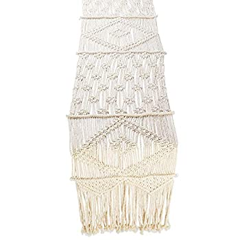 Folkulture Macrame Table Runner 60 Inches Long Boho Table Runner for Bohemian Rustic Wedding Dining Table White Cotton Fall Table Runner or Table Runner Farmhouse Style 60 x 13 Inches Long