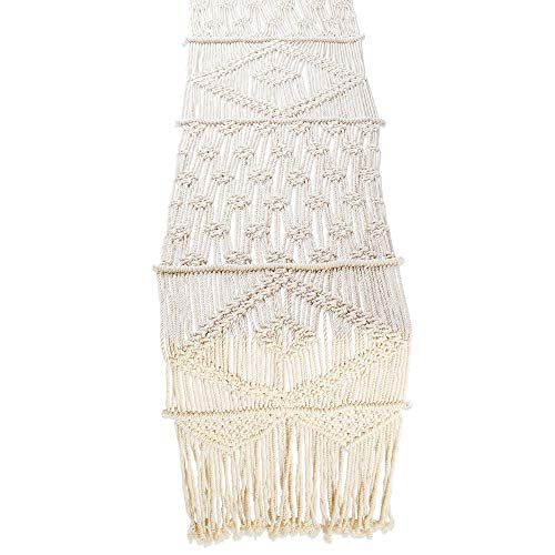 Folkulture Macrame Table Runner 108 Inches Long, Boho Fall Table Runner for Bohemian Rustic Wedding Dining Table or Coffee Table, White Cotton Christmas Table Runner Farmhouse Style, 13 x 108 inch