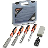 VonHaus 6 pc Premuim Chisel Set for Woodworking with Honing Guide, Sharpening Stone and Storage Case
