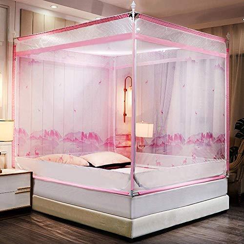 K.W Mosquitero Superior Plaza de mosquitera sin ningún Tipo de aditivos 100% de Fibra de poliéster de Tres Verano Anti-Mosquito Bed Hilado de la Red Lili (Color : Pink, Size : 120 * 200cm)