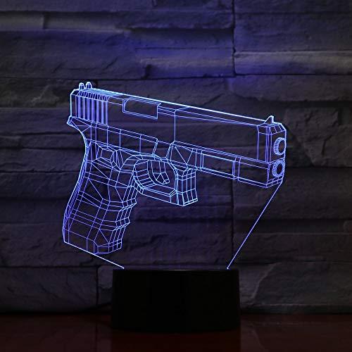 Decoración del hogar única LED 7 cambio de color 3D lámpara de mesa visual luz del hogar manualidades luz de noche interruptor táctil regalo de Halloween luz de noche colorida