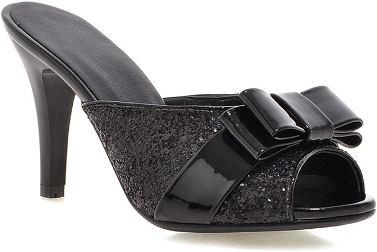 Lucksender Womens High Heels Bow Slippers Sandals with Sequins