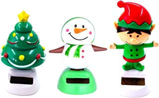 VPlus 3 Pcs Desk Dancing Solar Toy Christmas Tree Snowman Elf Doll Solar Powered Toys Dashboard for Car Oranment Office Desk Home Decor Novelty Solar Kids Halloween Supplies Toy