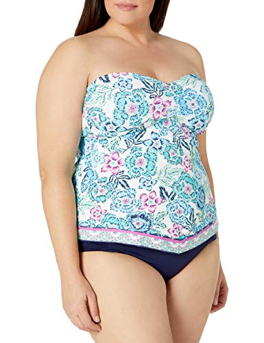 24th & Ocean Women's Plus Size Retro Bandeau Handkerchief Tankini Swimsuit Top, Navy//Bloom & Shine, 16W