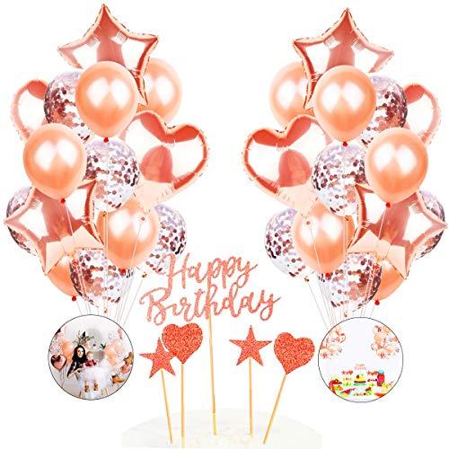 Conjunto de Globos de Fiesta de oro Rosa de Moda,Globos oro Rosa de LátexSet de Globos de Confeti de Oro Rosa Que Incluyen Globos de Confeti,Decoración de Cumpleaños,Globos de Fiesta para Bod