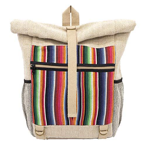 "seasara Rucksack ""Made by Sanu"" Natural/bunt Fairtrade Eco Damen Herren Rolltop Daypack Kurier-Stil Tagesrucksack Yogarucksack Fahrradrucksack Laptoprucksack Baumwolle Jute vegan | Handmade in Nepal"