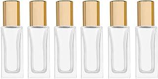 6ml Square Glass Roller Bottle For Essential Oils,Mini Glass Bottles With Stainless Steel Roller Balls,Gold Aluminum Caps ...