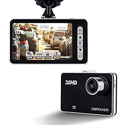 """DBPOWER 2.7"""" Dash Cam, 120? Wide Angle 1080P Car On-dash Video Recorder G-sensor Vehicle Camera Camcorder with 4X Zoom Lens Motion Detection Support up to 32GB C10 Micro SD Card (Not Included)"""