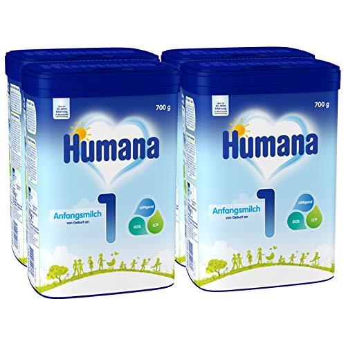 Humana Anfangsmilch 1, Babynahrung zum Zufüttern und als alleinige Säuglingsnahrung, sättigend dank Stärke, von Geburt an, 4er Pack (4 x 700g)