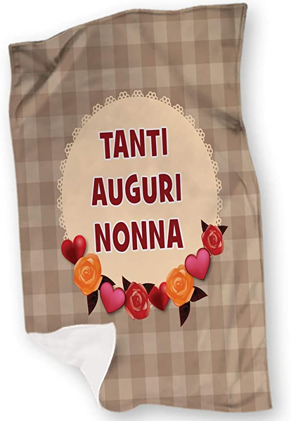 Babloo Plaid Coperta in Pile Idea Regalo Festa dei Nonni Tanti Auguri Nonna Fantasia Cuori 100x150 cm